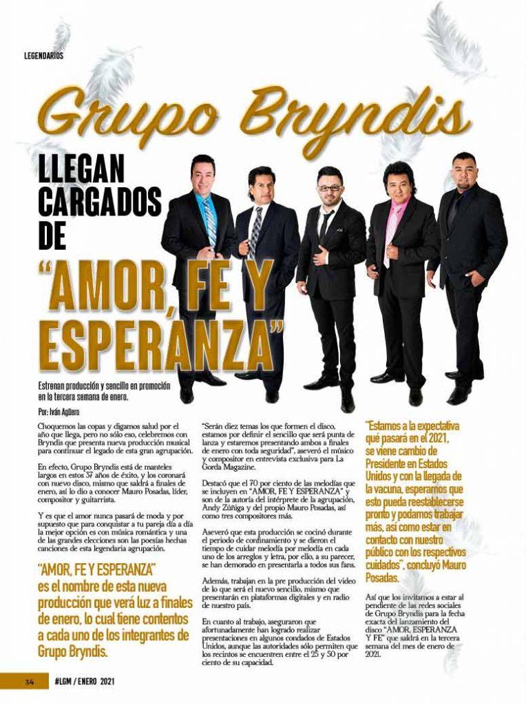 Grupo Bryndis, La Gorda Magazine Enero 2021