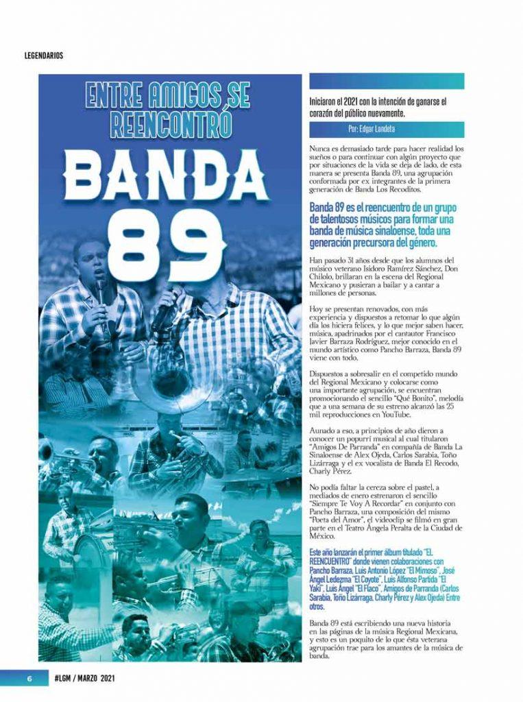 Banda 89, La Gorda Magazine Marzo 2021