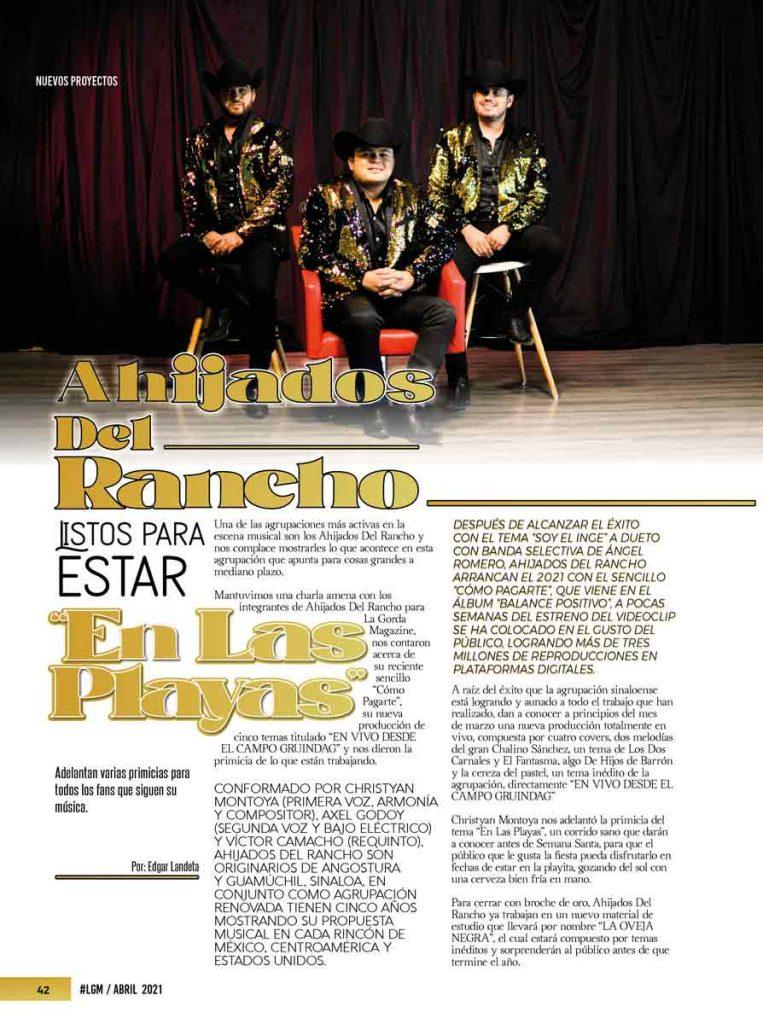 Los Ahijados Del Rancho, La Gorda Magazine Abril 2021