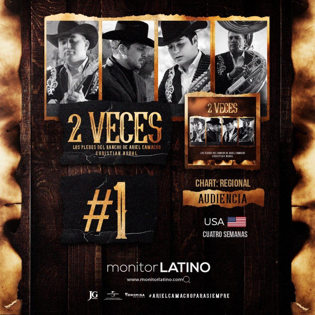 """Los Plebes del Rancho y Christian Nodal #1 en Estados Unidos """"2 Veces"""""""